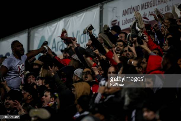 Benfica supporters waving during the Portuguese League football match between Portimonense SC and SL Benfica at Portimao Stadium in Portimao on...