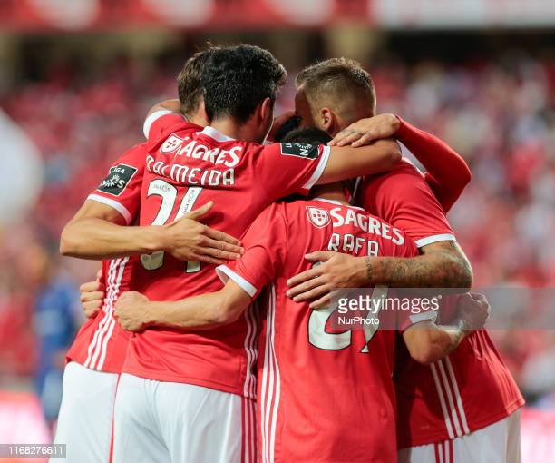 SL Benfica Team celebrates an own goal of Gil Vicente FC during the Premier League 2019/20 match between SL Benfica and Gil Vicente FC at Luz Stadium...