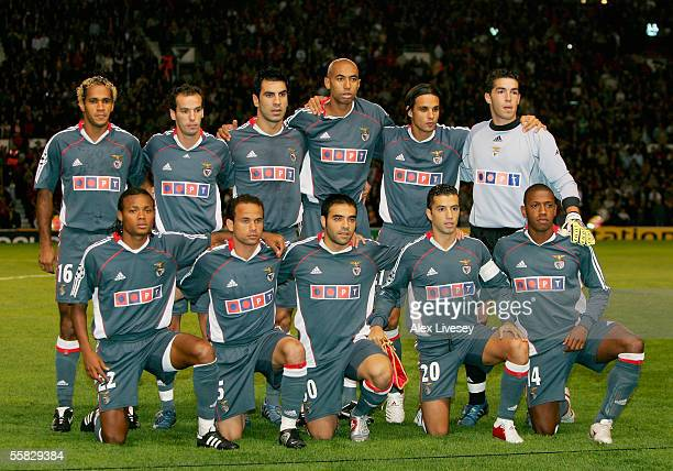 Benfica team line up prior to the UEFA Champions League Group D match between Manchester United and Benfica at Old Trafford on September 27 2005