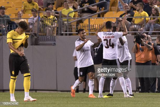 Benfica's Alfa Semedo celebrates his goal with teammates against Borussia Dortmund during the 2018 International Champions Cup at Heinz Field in...