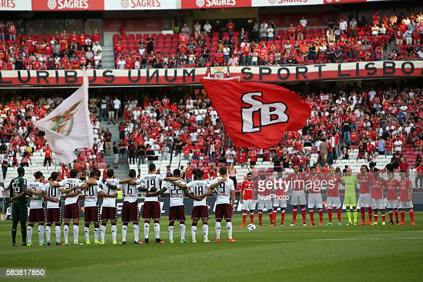 Benfica's and Torino's players before the Eusebio Cup football match between SL Benfica and Torino FC at the Luz stadium in Lisbon Portugal on July...
