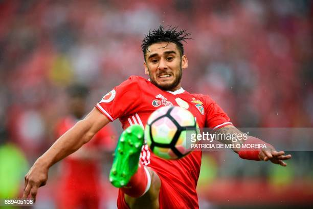 Benfica's Argentine midfielder Eduardo Salvio controls the ball during the Portugal's Cup final football match SL Benfica vs Vitoria SC at Jamor...