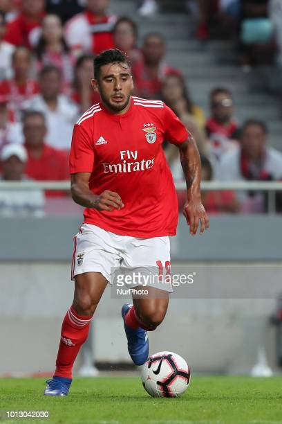 Benfica's Argentine midfielder Eduardo Salvio in action during the UEFA Champions League 3rd Qualifying Round first leg match Benfica vs Fenerbahce...