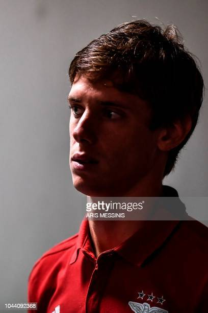 Benfica's Argentinian defender German Conti addresses a press conference at the Athens' Olympic Stadium on October 1 2018 on the eve of the UEFA...