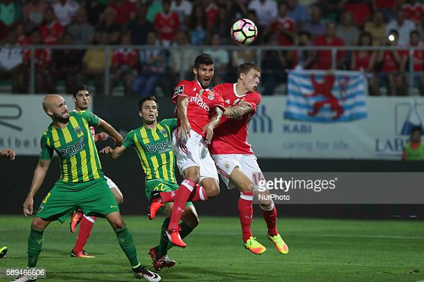 Benfica's Argentinian defender Lisandro Lopez score a goal during the Premier League 2016/17 match between CD Tondela and SL Benfica at Joao Cardoso...