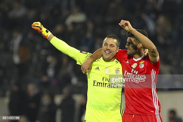 Benfica's Argentinian defender Lisandro Lopez with Benfica's Brazilian goalkeeper Julio Cesar celebrates during the League Cup 2016/17 match between...