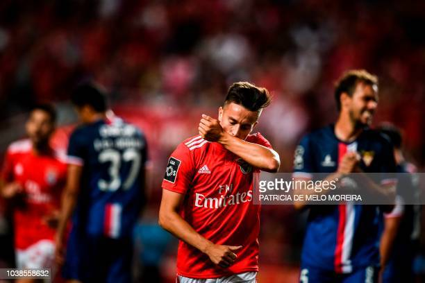 Benfica's Argentinian forward Franco Cervi celebrates a goal during the Portuguese league football match between SL Benfica and CD Aves at the Luz...