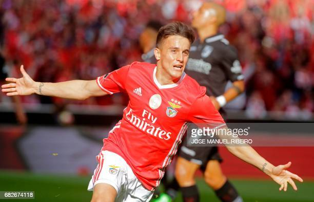 Benfica's Argentinian forward Franco Cervi celebrates after scoring during the Portuguese league football match SL Benfica vs Vitoria Guimaraes SC at...