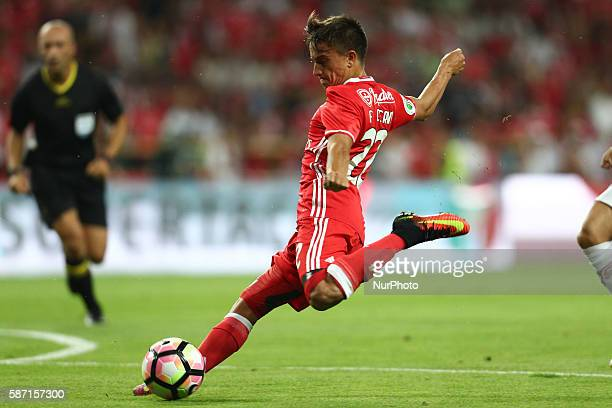 Benfica's Argentinian forward Franco Cervi in action during the Candido de Oliveira Super Cup match between SL Benfica and SC Braga in Municipal de...