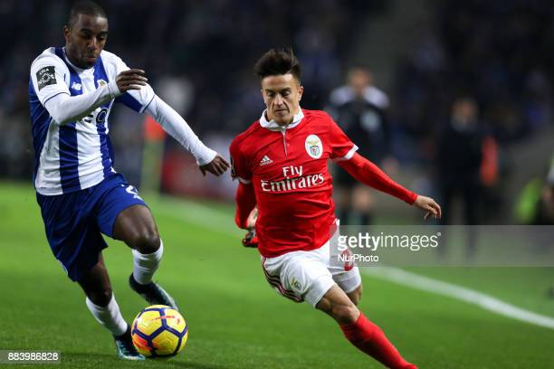 Benfica's Argentinian forward Franco Cervi in action with Porto's Portuguese defender Ricardo Pereira during the Premier League 2016/17 match between...