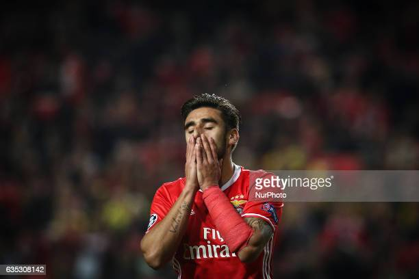 Benfica's Argentinian midfielder Eduardo Salvio reacts during the Champions League football match between SL Benfica and Borussia Dortmund at Luz...