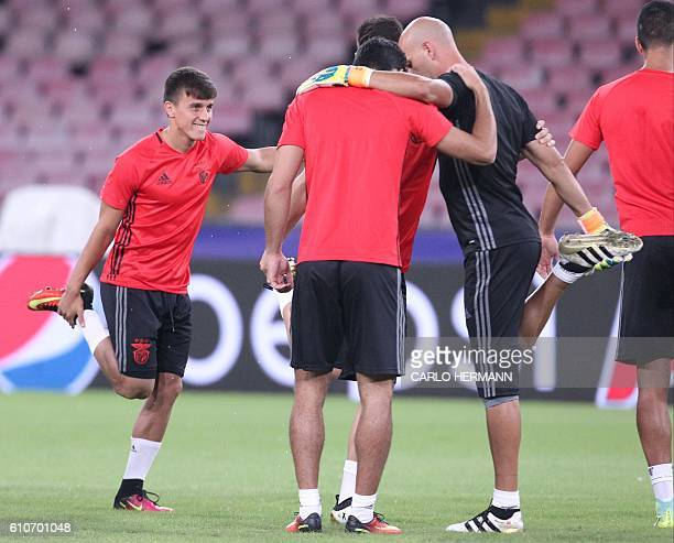 Benfica's Argentinian midfielder Franco Cervi attends a training session on the eve of the UEFA Champions League football match SSC Napoli vs SL...