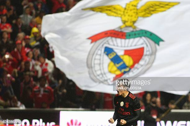 Benfica's Argentinian midfielder Franco Cervi celebrates a goal during the Portuguese Cup football match between SL Benfica and CS Maritimo at the...