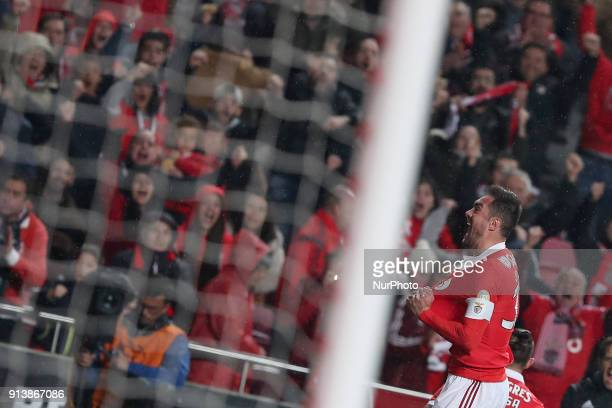 Benfica's Brazilian defender Jardel celebrates after scoring a goal during the Portuguese League football match SL Benfica vs Rio Ave FC at the Luz...