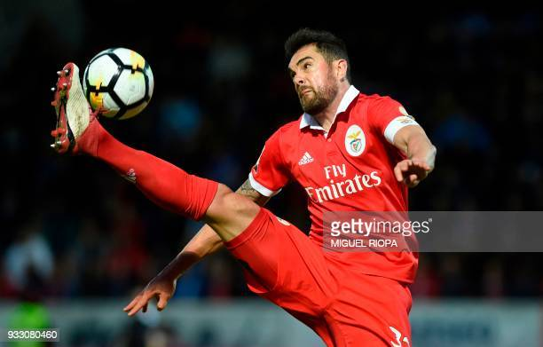 Benfica's Brazilian defender Jardel controls the ball during the Portuguese League football match between CD Feirense and SL Benfica at the Marcolino...