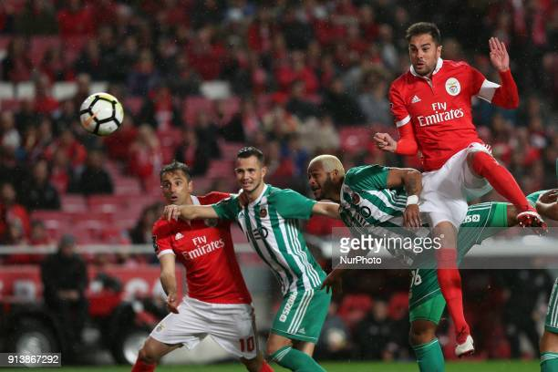 Benfica's Brazilian defender Jardel heads the ball to score during the Portuguese League football match SL Benfica vs Rio Ave FC at the Luz stadium...