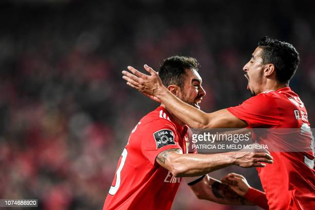 Benfica's Brazilian defender Jardel Vieira celebrates a goal with teammate Benfica's defender Andre Almeida during the Portuguese League football...
