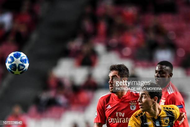 Benfica's Brazilian defender Jardel Vieira vies with AEK's Argentinian forward Ezequiel Ponce during the UEFA Champions League group E football match...