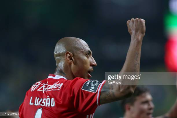 Benfica's Brazilian defender Luisao reacts during the Portuguese League football match Sporting CP vs SL Benfica at the Alvadade stadium in Lisbon on...