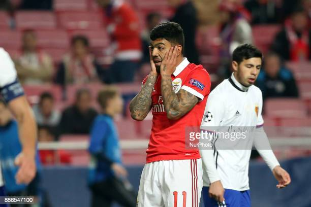 Benfica's Brazilian forward Gabriel Barbosa reacts during the UEFA Champions League Group A football match between SL Benfica and FC Basel at the Luz...