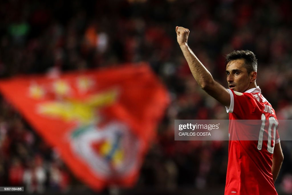 Benfica's Brazilian forward Jonas celebrates a goal during the Portuguese league football match between SL Benfica and CD Aves at the La Luz stadium in Lisbon on March 10, 2018. /