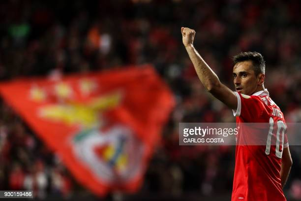 Benfica's Brazilian forward Jonas celebrates a goal during the Portuguese league football match between SL Benfica and CD Aves at the La Luz stadium...