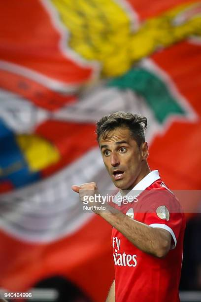 Benfica's Brazilian forward Jonas celebrates a goal during the Portuguese League football match between SL Benfica and Vitoria SC at Luz Stadium in...