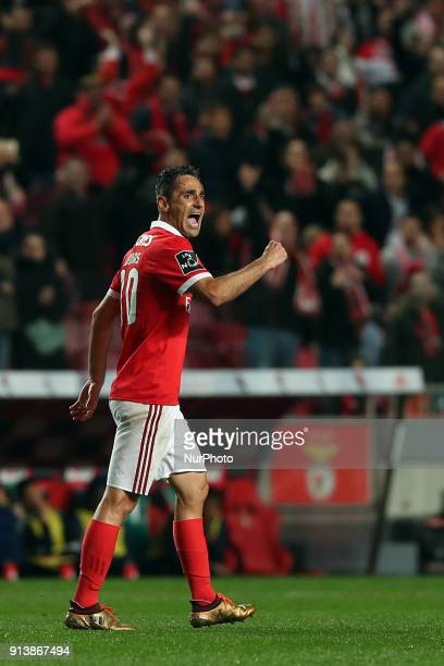 Benfica's Brazilian forward Jonas celebrates after scoring a goal during the Portuguese League football match SL Benfica vs Rio Ave FC at the Luz...