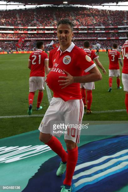 Benfica's Brazilian forward Jonas celebrates after scoring a goal during the Portuguese League football match SL Benfica vs Vitoria Guimaraes at the...