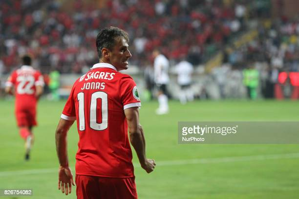 Benfica's Brazilian forward Jonas celebrates after scoring goal during the Candido Oliveira Super Cup match between SL Benfica and Vitoria Guimaraes...