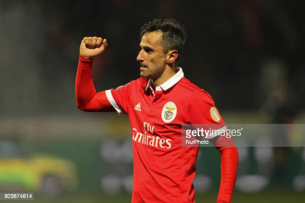 Benfica's Brazilian forward Jonas celebrates after scoring goal during the Premier League 2017/18 match between Pacos Ferreira and SL Benfica at Mata...