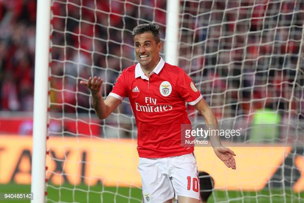 Benfica's Brazilian forward Jonas celebrates after scoring his second goal during the Portuguese League football match SL Benfica vs Vitoria...