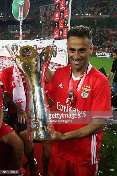 Benfica's Brazilian forward Jonas celebrates Benfica«s wining the Portuguese Supercup at end of the match between SL Benfica v SC Braga for...