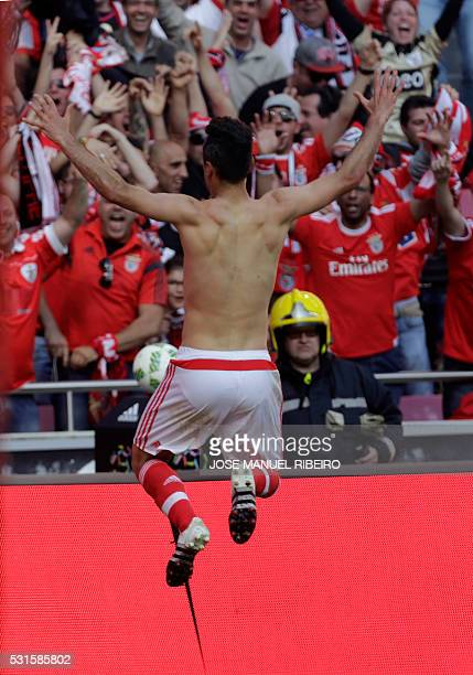 Benfica's Brazilian forward Jonas celebrates his goal during the Portuguese league football match SL Benfica vs CD Nacional at Luz stadium in Lisbon...