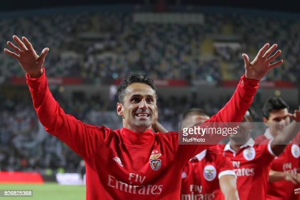 Benfica's Brazilian forward Jonas celebrates on final match during the Candido Oliveira Super Cup match between SL Benfica and Vitoria Guimaraes at...
