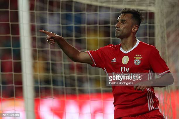 Benfica's Brazilian forward Jonas celebrates scoring Benfica«s second goal during the match between SL Benfica v SC Braga for Portuguese Super Cup at...