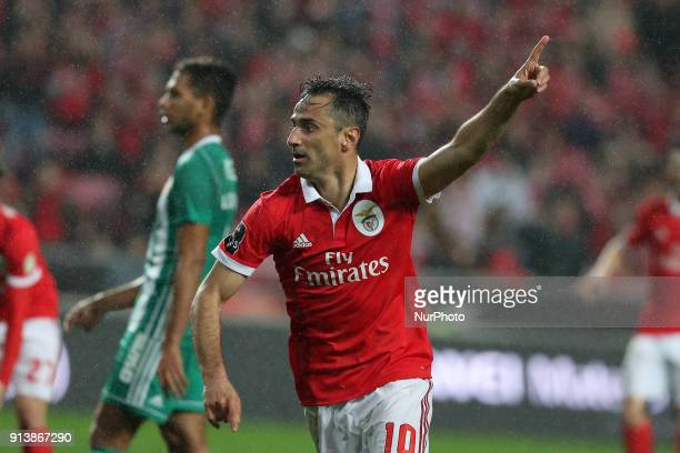 Benfica's Brazilian forward Jonas gestures during the Portuguese League football match SL Benfica vs Rio Ave FC at the Luz stadium in Lisbon on...