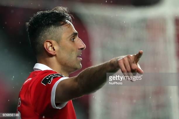 Benfica's Brazilian forward Jonas gestures during the Portuguese League football match SL Benfica vs Maritimo at the Luz stadium in Lisbon on March 3...