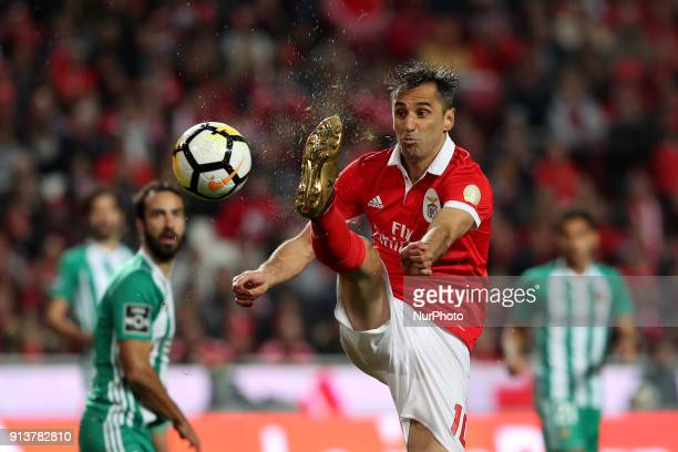 Benfica's Brazilian forward Jonas in action during the Portuguese League football match SL Benfica vs Rio Ave FC at the Luz stadium in Lisbon on...