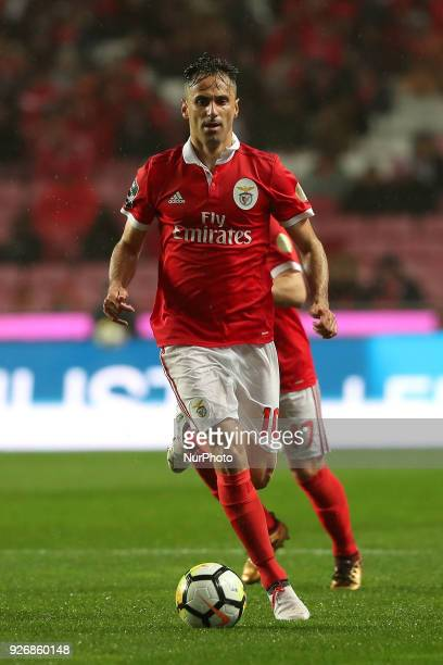 Benfica's Brazilian forward Jonas in action during the Portuguese League football match SL Benfica vs Maritimo at the Luz stadium in Lisbon on March...