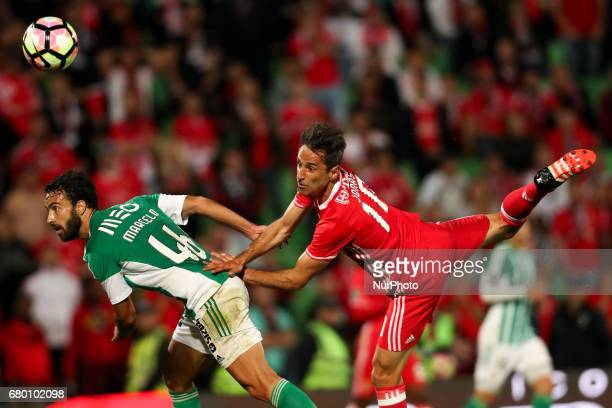 Benfica's Brazilian forward Jonas in action with Rio Ave's Brazilian defender Marcelo during the Premier League 2016/17 match between Rio Ave and SL...