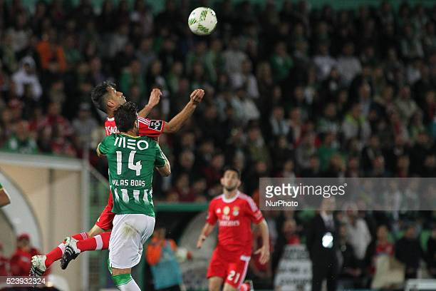 Benfica's Brazilian forward Jonas jumping during the Premier League 2015/16 match between Rio Ave FC and SL Benfica at Rio Ave Stadium in Vila do...