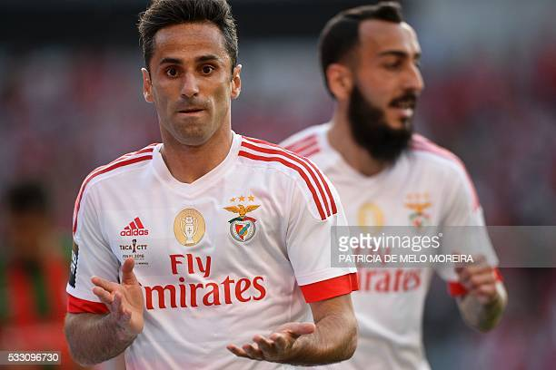 Benfica's Brazilian forward Jonas Oliveira celebrates a goal with Benfica's Greek forward Kostas Mitroglou during the Portuguese Cup final football...