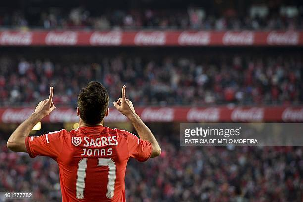 Benfica's Brazilian forward Jonas Oliveira celebrates after scoring against SC Vitoria during the Portuguese league football match Benfica vs SC...