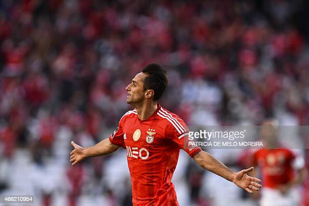 Benfica's Brazilian forward Jonas Oliveira celebrates after scoring during the Portuguese league football match SL Benfica vs SC Braga at Luz stadium...