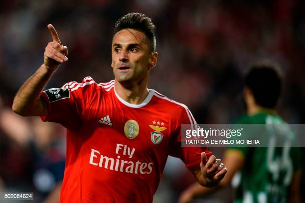 Benfica's Brazilian forward Jonas Oliveira celebrates after scoring against Rio Ave during the Portuguese league football match Benfica vs Rio Ave at...