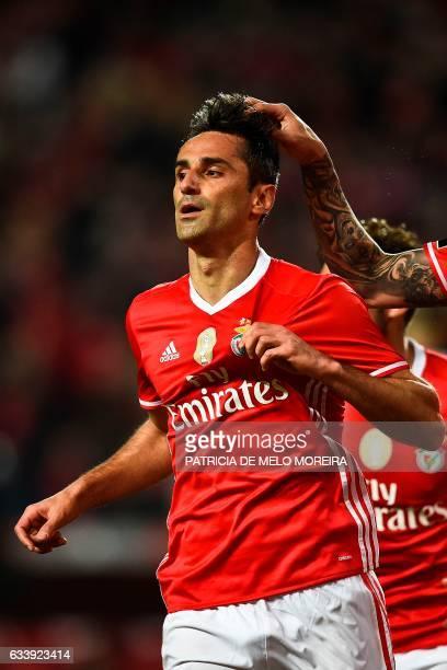 Benfica's Brazilian forward Jonas Oliveira celebrates after scoring during the Portuguese league football match SL Benfica vs CD Nacional Funchal at...