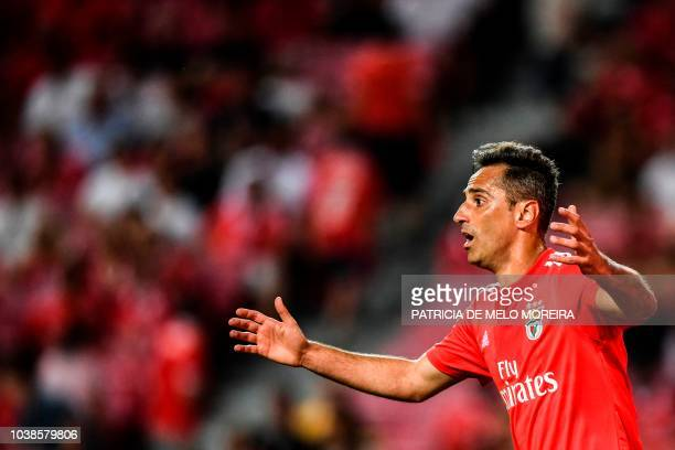 Benfica's Brazilian forward Jonas Oliveira gestures during the Portuguese league football match between SL Benfica and CD Aves at the Luz stadium in...