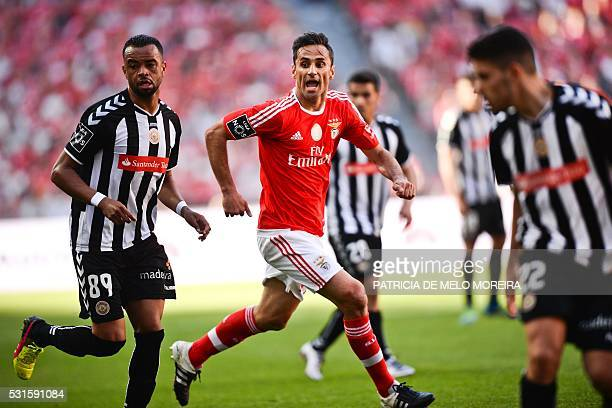 Benfica's Brazilian forward Jonas Oliveira shouts during the Portuguese league football match Benfica vs CD Nacional at Luz stadium in Lisbon on May...