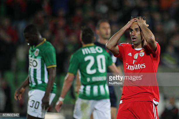 Benfica's Brazilian forward Jonas reactions during the Premier League 2015/16 match between Rio Ave FC and SL Benfica at Rio Ave Stadium in Vila do...